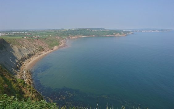 Cayton Bay viewed from the top of the cliffs at the southern end of the bay.