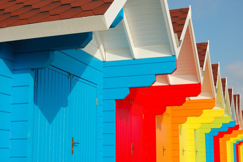 Colourful Beach Huts in the North Bay, Scarborough