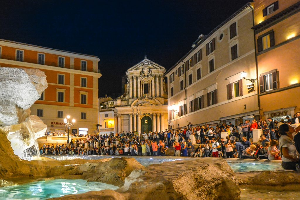 Rome, Trevi Fountain at night