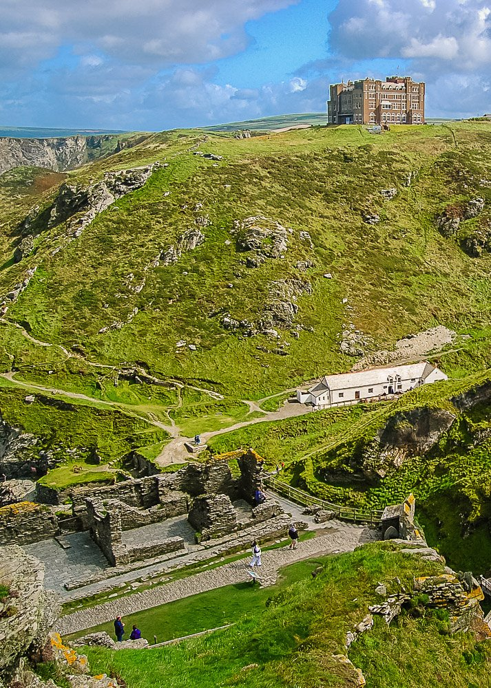 View of Camelot Castle Hotel from Tintagel Castle