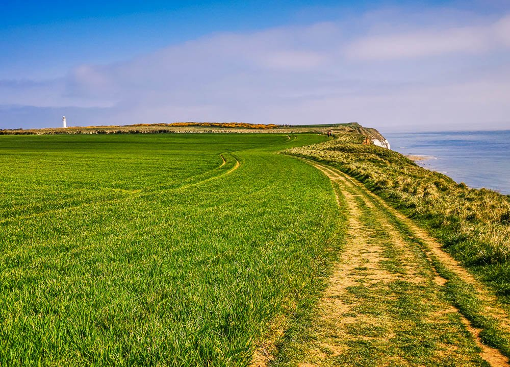 Clifftop path and Flamborough Lighthouse in the distance