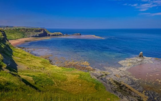 Saltwick Bay from the clifftop in summer