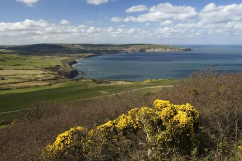 The view of Robin Hoods Bay from Ravenscar.