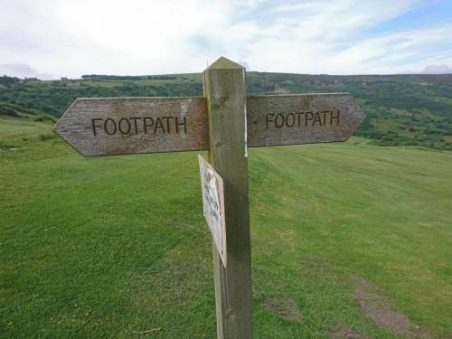 Footpath sign to follow if you are heading down to the beach at Ravenscar.